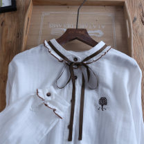 shirt milky white Average size Spring 2020 cotton 96% and above Long sleeves Sweet Regular stand collar Single row multi button routine other 25-29 years old Straight cylinder W4353 Embroidery, lace up, Auricularia auricula, asymmetric, button solar system