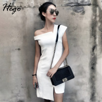 Dress Spring of 2019 Royal Blue White Black Red XS S M L XL Short skirt singleton  Sleeveless street other High waist Solid color Irregular skirt other Others 25-29 years old Hego H2280-3 More than 95% polyester fiber Polyester 97.6% polyurethane elastic fiber (spandex) 2.4% Europe and America
