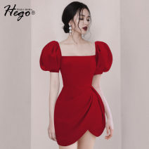 Dress Summer 2020 gules XS S M L Short skirt singleton  Short sleeve commute square neck High waist Solid color One pace skirt puff sleeve 25-29 years old Hego Retro BH6764-2 More than 95% polyester fiber Polyester 100%