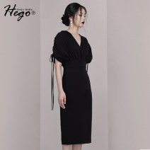 Dress Summer of 2019 black XS S M L Mid length dress Short sleeve High waist Solid color 18-24 years old Hego More than 95% polyester fiber Polyester 100%