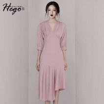 Dress Polyester fiber 94% polyurethane elastic fiber (spandex) 6% 91% (inclusive) - 95% (inclusive) polyester fiber BH6339 longuette three quarter sleeve Summer of 2019 High waist 25-29 years old Hego XS S M L