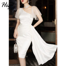 Dress Winter 2020 white XS S M L XL Middle-skirt singleton  commute High waist Solid color One pace skirt 25-29 years old Hego Retro BH6906 More than 95% polyester fiber Polyester 100%