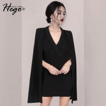 Dress / evening wear Weddings, adulthood parties, company annual meetings, daily appointments XS S M L black fashion Short skirt High waist Autumn 2020 Self cultivation Deep collar V 26-35 years old Solid color Hego Polyester 100%