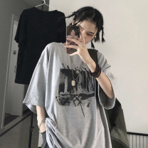 T-shirt Light grey Average size Summer 2020 Short sleeve Crew neck easy Regular routine commute cotton 31% (inclusive) - 50% (inclusive) 18-24 years old Korean version