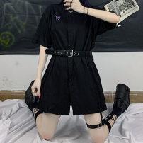 shirt black M, L Summer 2020 cotton 51% (inclusive) - 70% (inclusive) Short sleeve commute Medium length routine 18-24 years old High waist type