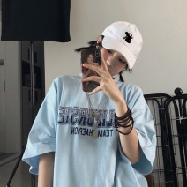 T-shirt Light blue, white Average size Summer 2020 Short sleeve Crew neck easy Regular routine commute cotton 31% (inclusive) - 50% (inclusive) 18-24 years old Korean version