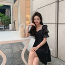 Dress Spring 2021 White, black S,M,L Short skirt singleton  Short sleeve commute square neck High waist Solid color Socket A-line skirt puff sleeve 18-24 years old Type A Other / other Korean version 30% and below