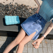 skirt Spring 2021 S,M,L,XL blue Short skirt commute High waist skirt Solid color Type A 18-24 years old 51% (inclusive) - 70% (inclusive) Denim Other / other cotton Korean version