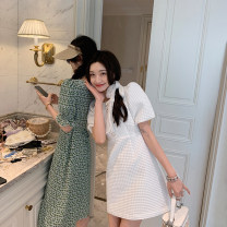 Dress Spring 2021 White - dress S,M,L Short skirt singleton  Short sleeve commute Crew neck High waist Solid color Socket Princess Dress puff sleeve 18-24 years old Type A Other / other Korean version 30% and below other