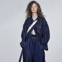 short coat Autumn of 2019 S,M,L Dark blue Long sleeves routine routine singleton  easy Original design routine other Solid color 25-29 years old Semicircle 96% and above other