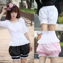 Casual pants Black (spot) pink (spot) white (spot) Average size shorts Knickerbockers Natural waist Sweet routine 91% (inclusive) - 95% (inclusive) A4 Rotate Ballet cotton Lace stitching Lolita