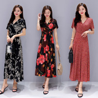 Dress Summer 2020 Color 1, color 2, color 3, color 6, color 7, color 18 2XL,3XL,4XL,5XL,6XL Mid length dress singleton  Short sleeve commute V-neck middle-waisted Broken flowers Socket Big swing routine 40-49 years old Type A Korean version