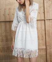 Dress Summer 2016 white S Middle-skirt singleton  elbow sleeve Sweet V-neck High waist Solid color Socket A-line skirt routine straps 18-24 years old Type A Lace Bohemia