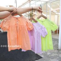 Dress female Other / other 80cm,90cm,100cm,110cm,120cm Cotton 98% other 2% summer Korean version Short sleeve Solid color cotton A-line skirt Q056 12 months, 9 months, 18 months, 2 years old, 3 years old, 4 years old, 5 years old, 6 years old