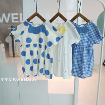 Dress Blue dots, white embroidery, blue check female Other / other 80cm,90cm,100cm,110cm,120cm Cotton 98% other 2% summer Korean version Short sleeve lattice cotton A-line skirt Q132 12 months, 3 years, 6 years, 18 months, 9 months, 2 years, 5 years, 4 years