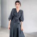 Dress Summer 2021 Smoky grey S,M,L Mid length dress singleton  commute V-neck High waist Solid color Socket A-line skirt routine Type A Korean version More than 95% Chiffon