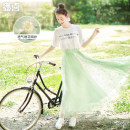 skirt Summer 2020 Average size Green and white (in stock) longuette fresh High waist Umbrella skirt Broken flowers Type A Q02200463 More than 95% other Broadcast joy polyester fiber Embroidery, gauze, stitching