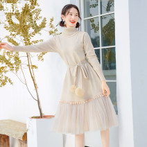Wool knitwear Winter of 2019 Average size Long sleeves singleton  Socket nylon 31% (inclusive) - 50% (inclusive) Medium length routine Sweet Self cultivation High collar routine Solid color Socket 25-29 years old Broadcast joy Ruili