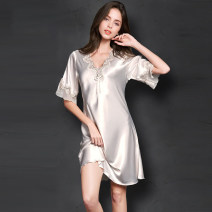 Nightdress Other / other Apricot, lavender, rose, red, pink, lotus root pink 160(M),165(L),170(XL),175(XXL) luxurious Short sleeve pajamas Middle-skirt summer Solid color youth V-neck Iced silk More than 95% mx2021032102
