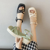 Sandals 35,36,37,38,39 Off white, black, green, light green, light off white, atmospheric black PU Jamie of Min Barefoot Square heel Middle heel (3-5cm) Summer 2021 Flat buckle Korean version Solid color Adhesive shoes Youth (18-40 years old) rubber daily Ankle strap Thick heel, waterproof platform