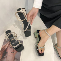 Sandals 35,36,37,38,39,40 Off white, green PU Jamie of Min Barefoot Thick heel Middle heel (3-5cm) Summer 2021 Flat buckle Korean version Solid color Adhesive shoes Youth (18-40 years old) rubber daily Ankle strap Water drill, thick heel Low Gang Hollow PU PU Flat buckle Shaving