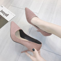 Low top shoes 34 35 36 37 38 39 40 41 Jamie of Min Beige pink grey black Sharp point Fine heel Suede Shallow mouth Super high heel (over 8cm) PU Summer of 2018 Trochanter Korean version Adhesive shoes Youth (18-40 years old) Solid color rubber Lazy shoes Roman style Microfiber skin daily 20180613-10