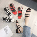 Sandals 35 36 37 38 39 White, red, black Jamie of Min PU Barefoot Square heel Middle heel (3-5cm) Summer of 2018 Flat buckle Korean version Solid color Adhesive shoes Youth (18-40 years old) rubber daily Rear trip strap Roman style with thick and thin strips Low Gang Hollow Microfiber skin 20180525-3