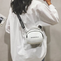 Bag Inclined shoulder bag PU Small round bun Murano  White, black brand new Fashion trend Small leisure time soft zipper yes written words Single root One shoulder portable messenger nothing youth Box shape letter Soft handle polyester fiber soft surface Three dimensional bag