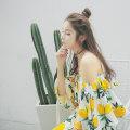 Dress Summer of 2018 yellow S, M Short skirt singleton  elbow sleeve street One word collar Loose waist Decor Socket A-line skirt pagoda sleeve Breast wrapping Type A cherrynanaco brocade Europe and America