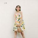 Dress Summer of 2019 yellow S, M Short skirt singleton  Sleeveless street High waist Decor camisole Type A A007 brocade Europe and America
