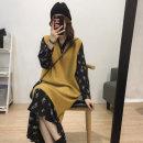 Women's large Winter 2020, autumn 2020 Yellow vest, black floral skirt, yellow vest + black floral skirt M [within recommended 100], l [recommended 100-120], XL [recommended 120-140], 2XL [recommended 140-160], 3XL [recommended 160-180], 4XL [recommended 180-200] Dress Two piece set commute easy