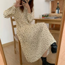 Dress Spring 2021 Apricot, black Average size Mid length dress singleton  Long sleeves commute Crew neck High waist Dot Pleated skirt other Others 18-24 years old Type A Korean version Chiffon