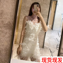 Dress Summer 2021 Apricot white, short vest S,M,L,XL,6XL Short skirt singleton  Sleeveless Sweet One word collar High waist Solid color zipper A-line skirt puff sleeve camisole Type A Other / other More than 95% Lace cotton princess