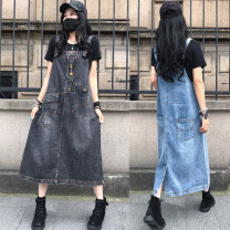 Dress Summer 2021 Retro Black (loose), Retro Blue (loose) M,L,XL Mid length dress singleton  Sleeveless commute other High waist Socket A-line skirt routine Others Type A Make old 51% (inclusive) - 70% (inclusive) Denim cotton