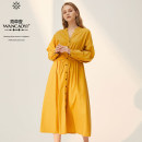 Dress Autumn 2020 Khaki, mango yellow, Ben White XS,S,M,L,XL longuette singleton  Long sleeves commute V-neck High waist character Socket other routine 25-29 years old Type X Aster one Retro Q71630011 51% (inclusive) - 70% (inclusive) cotton
