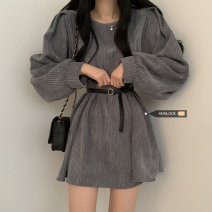 Dress Spring 2021 Grey, black, coffee Average size Middle-skirt singleton  Long sleeves commute Crew neck High waist Solid color Socket other other 18-24 years old Type A 51% (inclusive) - 70% (inclusive) other cotton