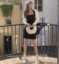 Dress Spring 2021 Black spot S,M,L Short skirt singleton  Long sleeves commute square neck High waist Solid color Socket One pace skirt routine Others Type A 91% (inclusive) - 95% (inclusive) other polyester fiber
