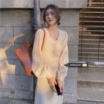 Dress Spring 2021 Off white S,M,L singleton  Long sleeves commute Crew neck High waist other Socket other other 18-24 years old Type A 51% (inclusive) - 70% (inclusive) other cotton