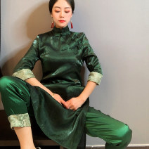 Fashion suit Spring 2021 M for 85-100, l for 100-110, XL for 110-120, XXL for 120-135 green 25-35 years old Improved cheongsam dress 51% (inclusive) - 70% (inclusive)