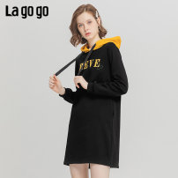 Dress Winter of 2019 Black yellow (wk) green rice (LT) 155/S/36 160/M/38 165/L/40 Mid length dress singleton  Long sleeves Sweet Hood Loose waist letter Socket other routine 25-29 years old Type H Lagogo / Lagu Valley printing ICLL459B23 More than 95% other cotton Cotton 100% college