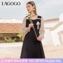 Dress Summer 2021 Mixed color (Y0) 155/S/36 160/M/38 165/L/40 Middle-skirt Long sleeves commute square neck High waist Socket A-line skirt puff sleeve 25-29 years old Type A Lagogo / Lagu Valley Retro Stitching zipper KALL453C66 More than 95% polyester fiber Polyester 100%