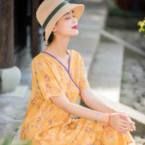 Dress Summer 2020 yellow M,L,XL Mid length dress singleton  Short sleeve commute V-neck Loose waist Decor Socket other routine Others 35-39 years old Type A literature Stitching, buttons, print 51% (inclusive) - 70% (inclusive) other hemp