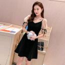 Dress Summer 2020 S,M,L,XL,2XL Short skirt singleton  Short sleeve commute V-neck High waist zipper A-line skirt puff sleeve Others 18-24 years old Type A Korean version Stitching, nail bead