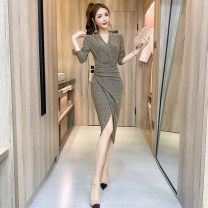 Dress Autumn 2020 Red, gold, silver, black S,M,L,XL Mid length dress singleton  Long sleeves commute V-neck High waist Solid color routine Others 18-24 years old Korean version A1.3-39