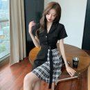 Dress Summer 2021 black S,M,L,XL Short skirt singleton  Short sleeve commute High waist Others 18-24 years old Korean version fold A4.16-15