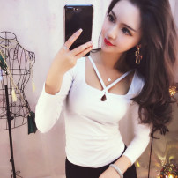 T-shirt White, black Average size Autumn 2020 Long sleeves Self cultivation Regular commute other 30% and below 18-24 years old Korean version Solid color A11.10-30