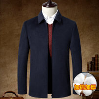 woolen coat 170,175,180,185,190,195 Others Business gentleman Woolen cloth have cash less than that is registered in the accounts go to work easy middle age Lapel Front and middle zip placket Business Casual Solid color Straight hem winter Side seam pocket wool No iron treatment Zipper decoration