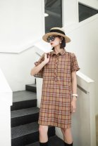Dress Summer 2021 Apricot, Khaki S,M,L,XL,2XL Middle-skirt singleton  Short sleeve commute square neck Loose waist Solid color double-breasted routine Others 25-29 years old Type H Other / other Britain Frenulum More than 95% brocade cotton