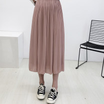 skirt Summer 2017 S,M,L Lotus root, dark green Middle-skirt Versatile Natural waist Pleated skirt Solid color Type A 18-24 years old 91% (inclusive) - 95% (inclusive) Chiffon Other / other polyester fiber 101g / m ^ 2 (including) - 120g / m ^ 2 (including)