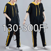 Casual suit Summer 2020 Black (priority for collection) 2XL (120-160 kg recommended), 3XL (170-210 kg recommended), 4XL (220-260 kg recommended), 5XL (270-300 kg recommended) 25-35 years old Other / other 51% (inclusive) - 70% (inclusive)